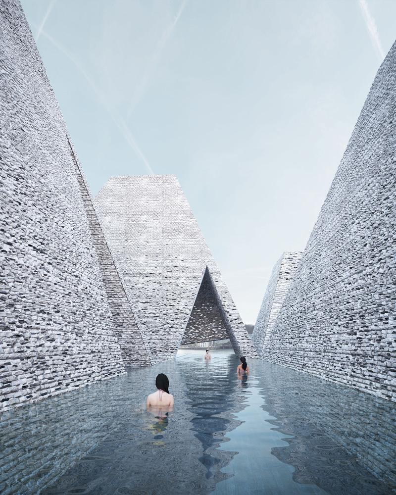Kuma's design envisions the building as having a series of pyramid-shaped roofs, with an open-air pool passing through the gaps between them / Kengo Kuma and Luxigon