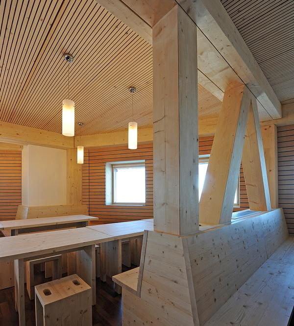 Interiors are mainly made from wood which was sustainably harvested nearby