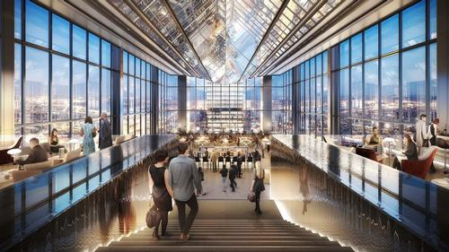 The hotel lobby is at the apex of the tower, along with a restaurant and bar with city views / Foster + Partners