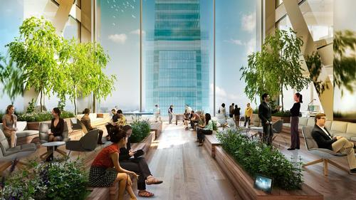 The Comcast Center tower is a mixed-use space that also includes high-tech research and development spaces / Foster + Partners