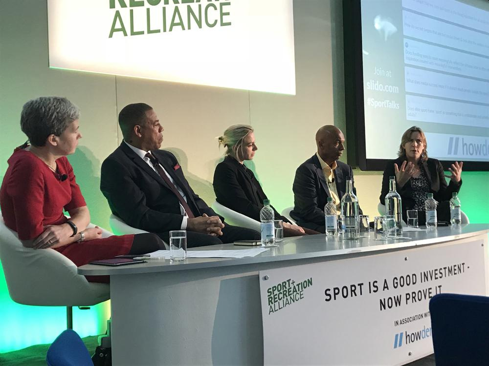 Grainger (right) made her point during a panel debate alongside (L-R) Emma Boggis, CEO of the Sport and Recreation Alliance; Karl Brown, director of basketball at Leicester Warriors; Kate Richardson-Walsh, former England hockey captain; and Chris Grant