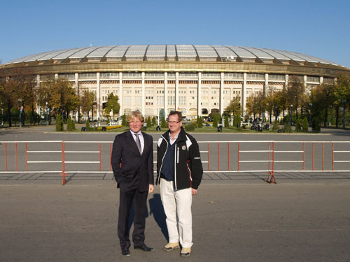 Dimitry Aleshin (left) and Tim Lobb at the Luzhniki Olympic Complex