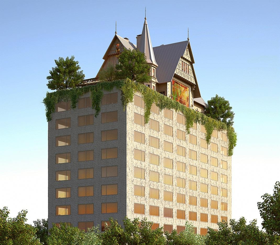 The hotel is envisioned as a monolithic and monochromatic tower topped by an 18th-century style Alsace traditional house / Starck Network
