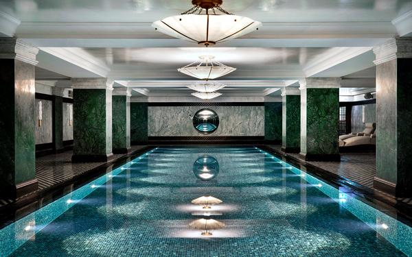The Ned's spa is built around the 20m indoor pool and also features a pink Moroccan hammam