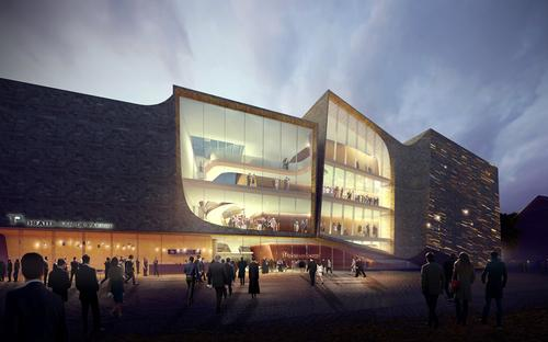 The facades of the public spaces are constructed from glass, so the theatre and public square seamlessly merge