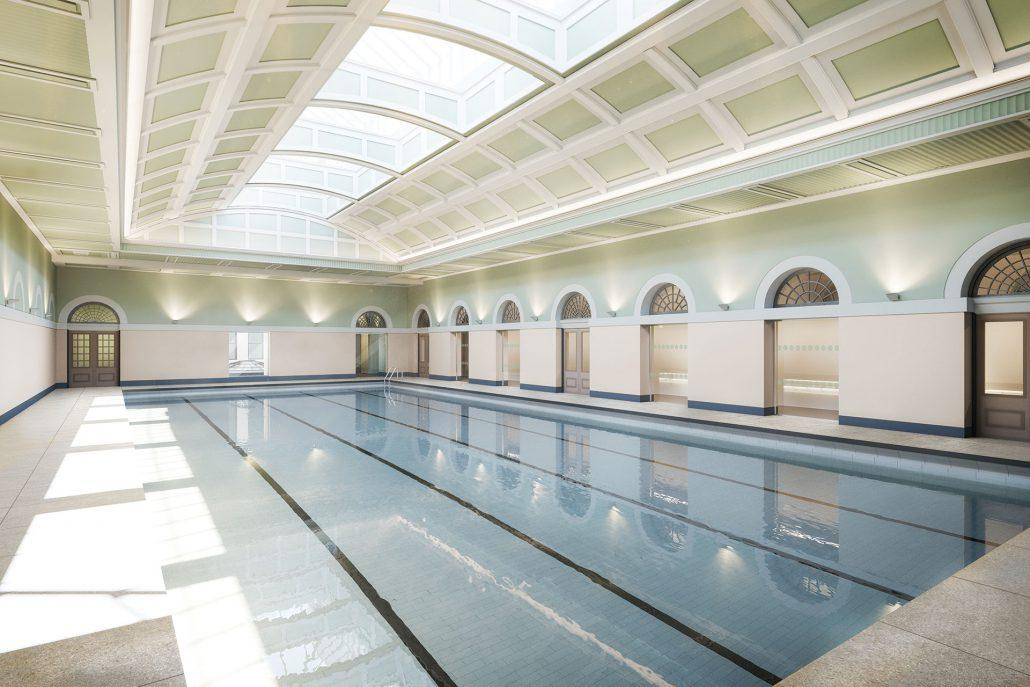 Estimated to be completed in summer 2019, the project includes plans to return the pool and baths to their former glor