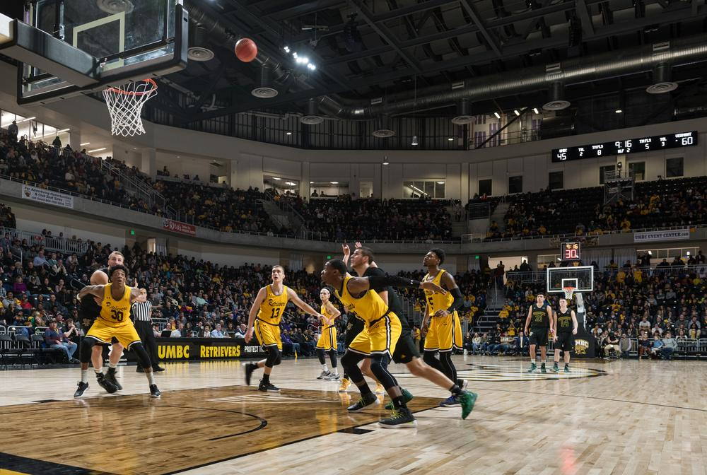 The all-in-one athletics venue is the new home of the UMBC Retrievers' men's and women's basketball teams / Paul Burk