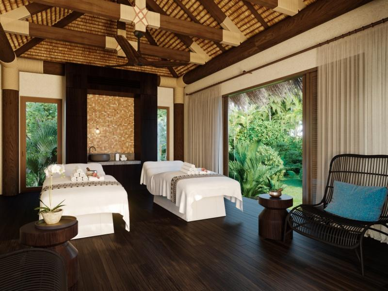 The spa's organic and earthy design combines a neutral colour palette with grounding dark timber floors and wooden beams