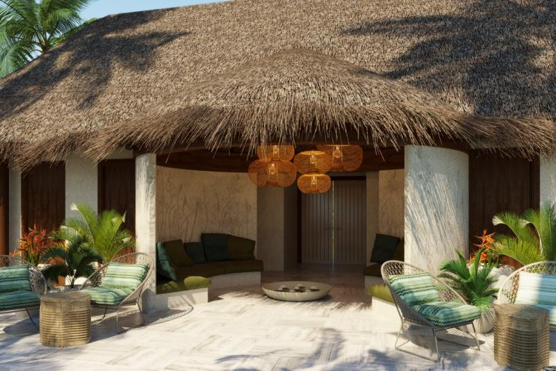 The Spa Village is entered via stepping stones leading to the arrival bure (lounge), designed as a place to socialize, relax, explore the resort's wellness offerings and make reservations