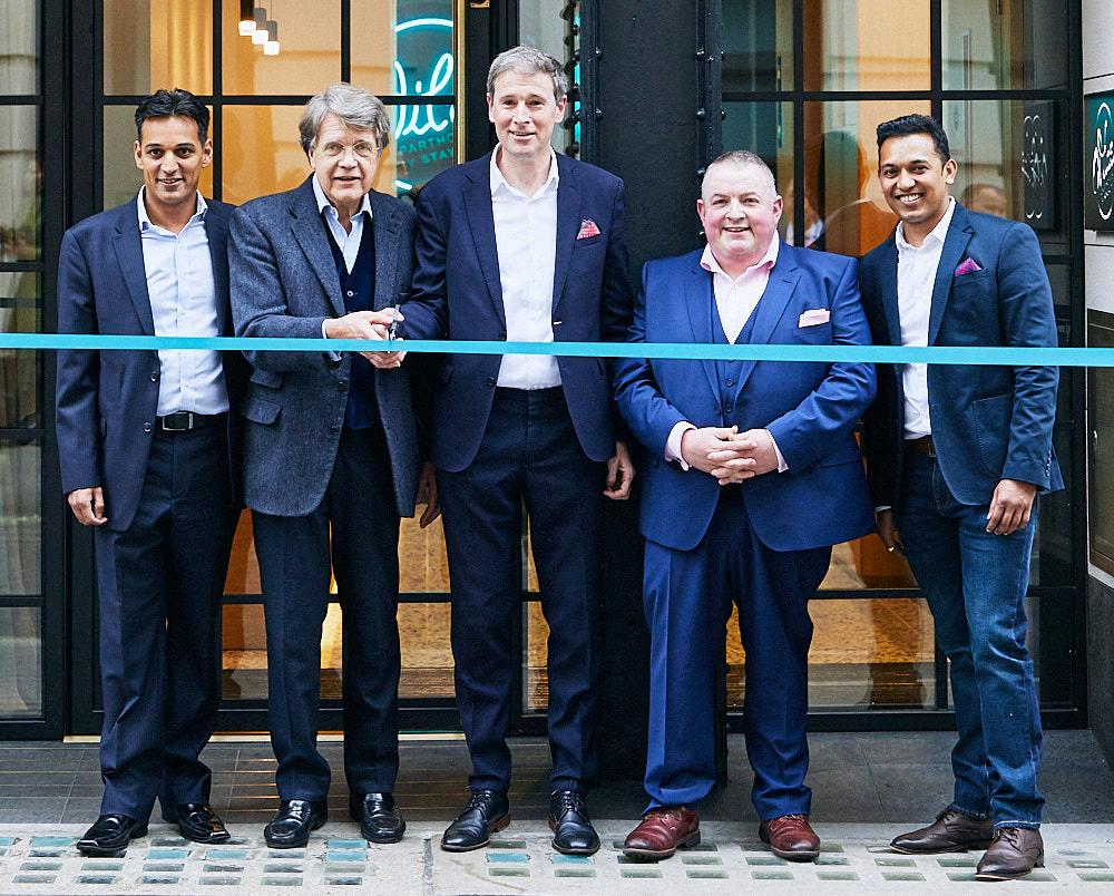 (from left) Jason Delany, director of brand; Merlin Holland; Tom Walsh, CEO; Keith Freeman, COO; Atul Prakash, GM / Jon Bradley / Staycity
