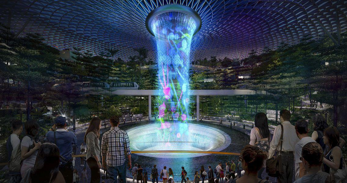 In the evenings, the 40m indoor waterfall will be the centre of a 'Rain Vortex' light and sound show / Changi Airport