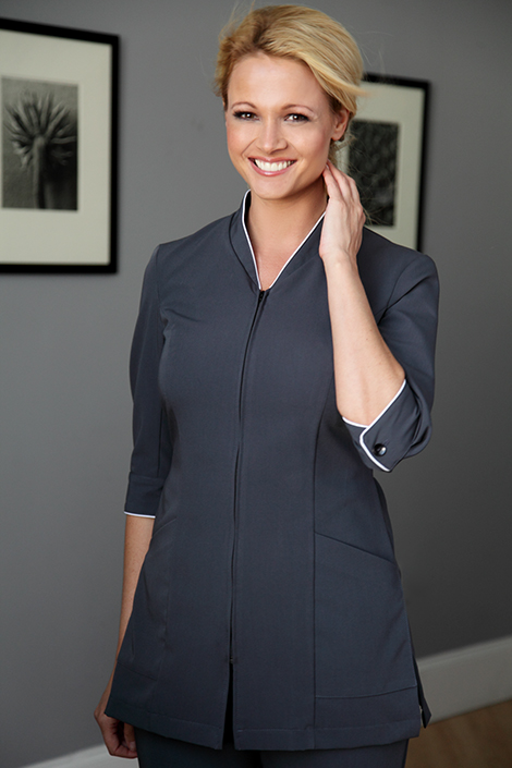 The new pravia jacket has an invisible zip and an for Spa uniform online