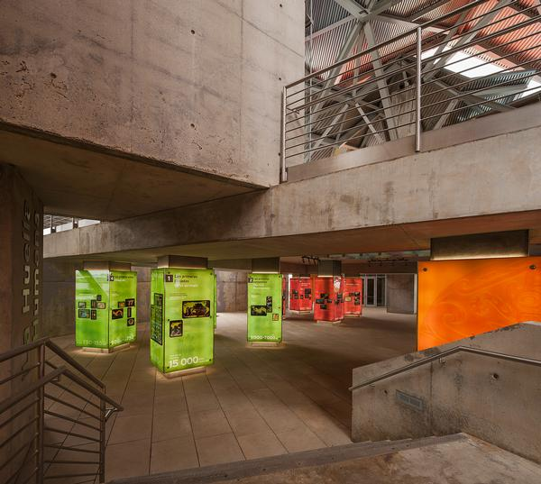 A walkway loops through the museum's galleries.