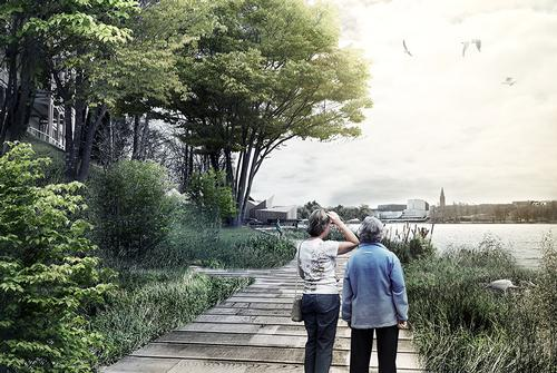 Pedestrian routes will be built so people can enjoy a stroll around the bay / COBE