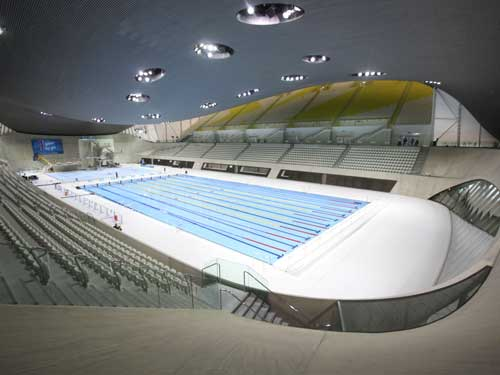 Zaha Hadid and S and P Architects designed the Aquatics Centre