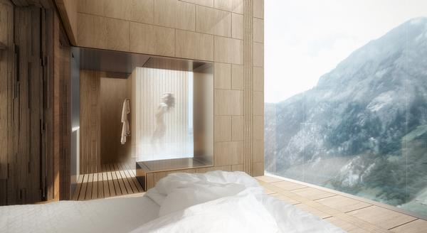 The guest rooms at 7132 Tower hotel will provide panoramic views of the surrounding mountains