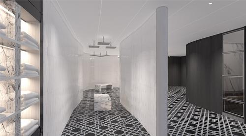 The rainfall room features a series of different water pressures