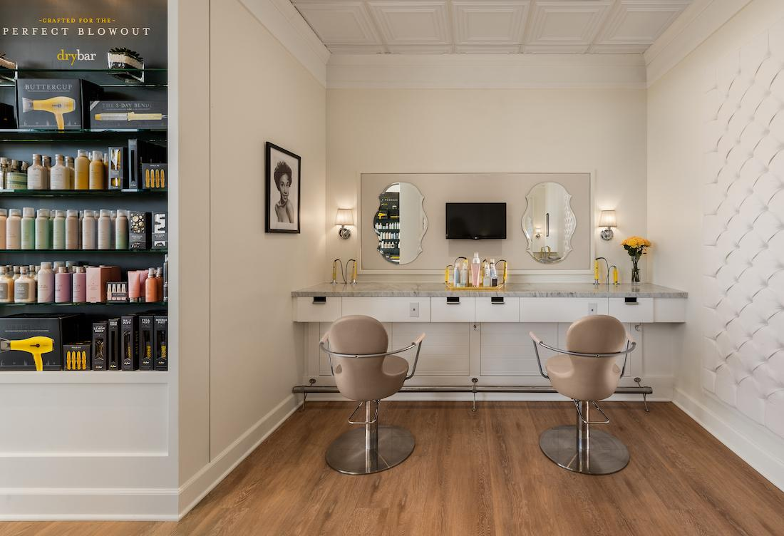 A dry bar offers hairstyling within the spa