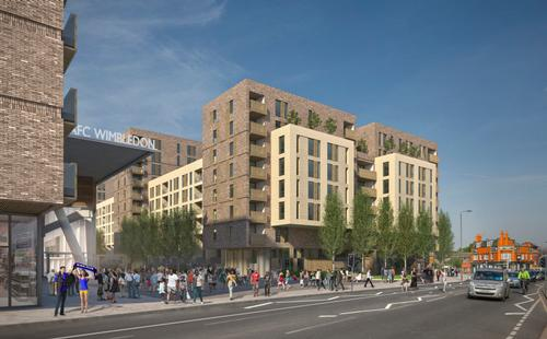 The development also includes the creation of 602 new homes and retail spaces around the stadium. / AFC Wimbledon