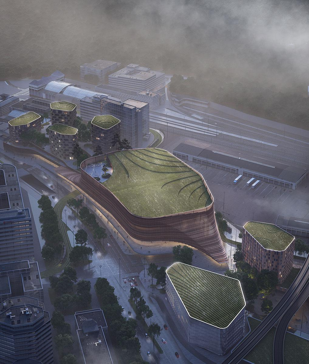 Renderings show green areas atop 3XN's planned buildings / 3XN