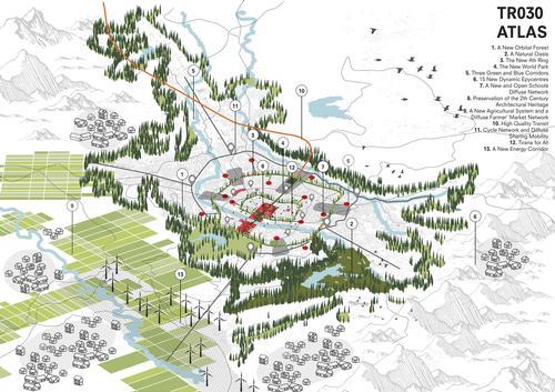 Development plan for Tirana's 2030 regeneration / courtesy of Stefano Boeri Architetti