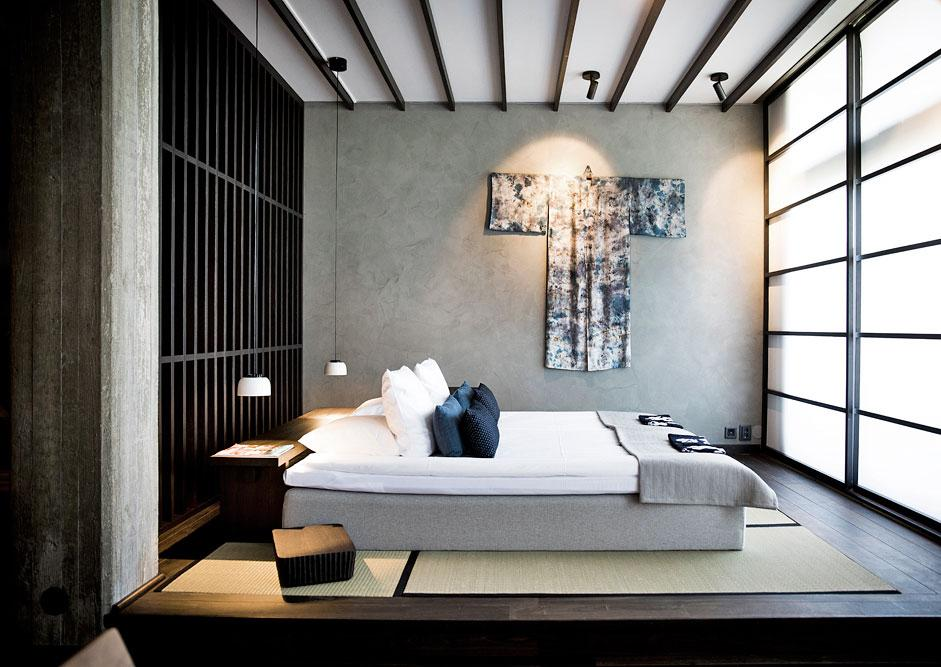 The tranquil styling continues into the bedrooms and public spaces.