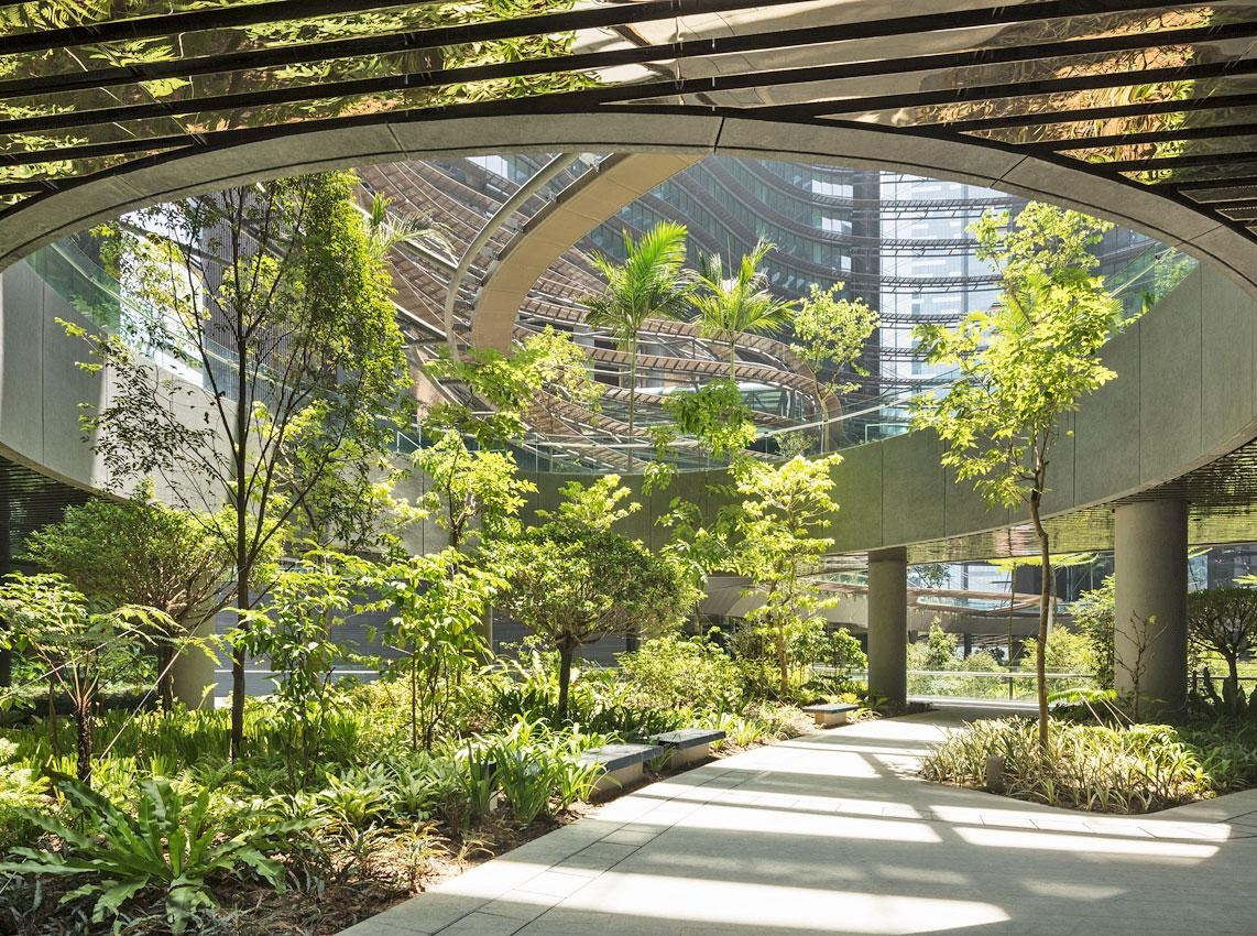 The Green Heart public space was inspired by Asian paddy field terraces