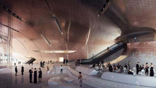 The lobby will also serve as a public plaza / Courtesy of Zaha Hadid Architects