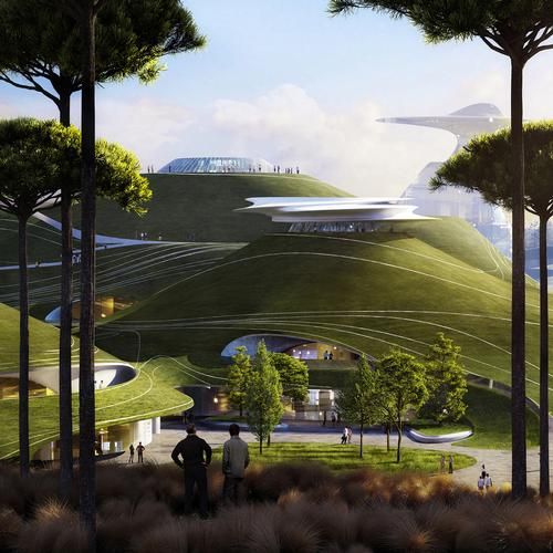 Featuring a mirage-like array of hills, lakes, and green areas, the campus has been described as a