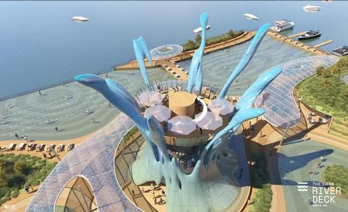 The deck could be built near Elizabeth Quay. / Courtesy of ARM Architecture