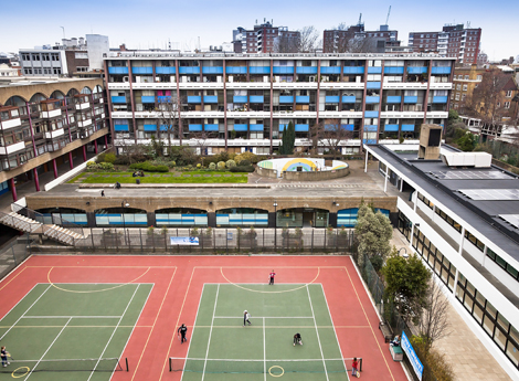n The leisure centre is a listed building and forms an L shape around the courts, which are used for tennis, netball and children's five-a-side