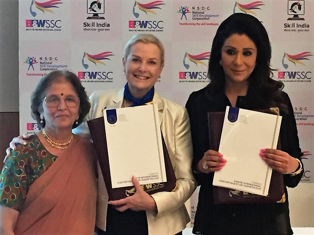 CIDESCO Section India president Maya Paranjapye with CIDESCO International president Anna-Cari Guna and B&WSCC chairperson Vandana Luthra