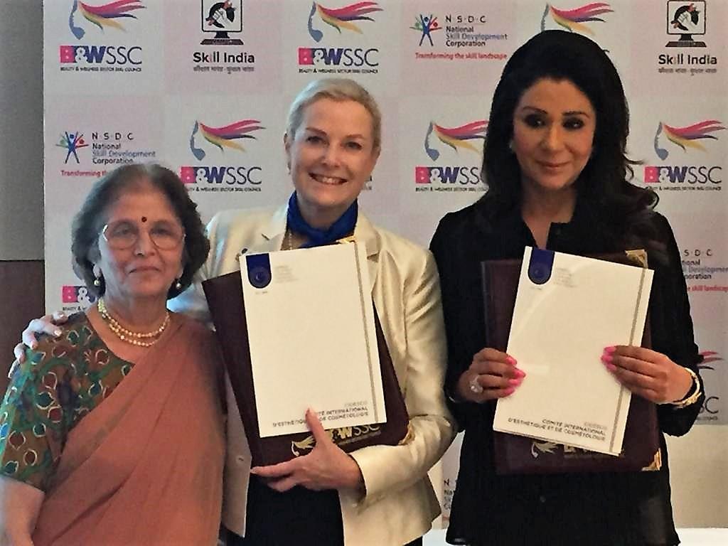 CIDESCO Section India president Maya Paranjapye with CIDESCO International president Anna-Cari Guna and B&WSCC chairperson Vandana Luthra
