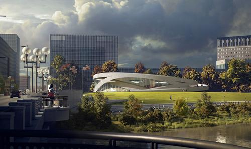 OLIN headed up the design of the rooftop green space and surrounding tree garden, which they described as
