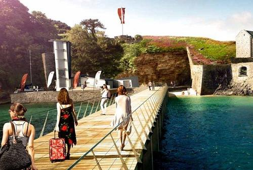 An artist's impression shows visitors arriving on the refurbished jetty of the complex. / LHC Architecture