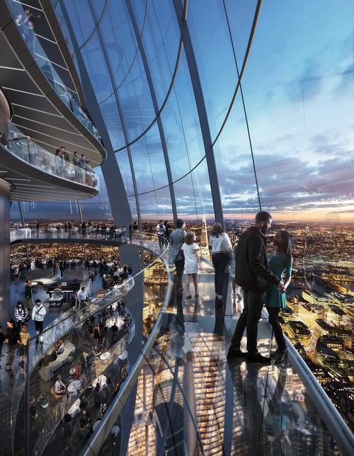 Visitors will be able to ride gondola pods and meander around the complex on interconnected sky bridges. / Courtesy of Foster + Partners