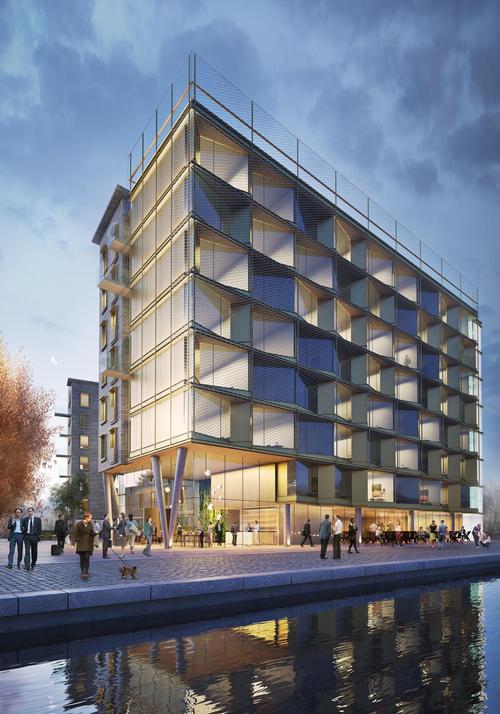 A fine stainless steel mesh creates a glistening façade