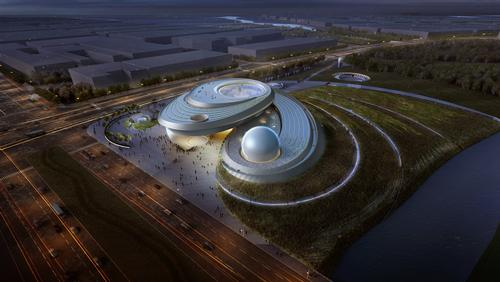 An oculus, inverted dome and sphere comprise the central body of the architecture / Ennead Architects