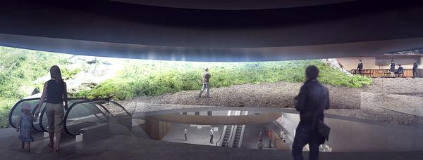 The Museum of Indigenous Knowledge in Manilla features a tropical plant-covered arch / KENGO KUMA & ASSOCIATES
