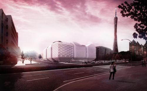 Guangzhou Science Museum is based on a grouping of nine individual shapes, conceived as a 'flexible sequence of large-scale ceramic vases' / Nieto Sobejano