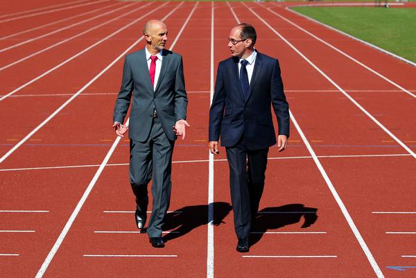 UK Athletics CEO Niels de Vos (right) with performance director Neil Black / David Jones / press associations