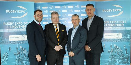 David Armstrong (centre-left) is 'excited' about growing Rugby Expo at the Ricoh / Rugby Expo