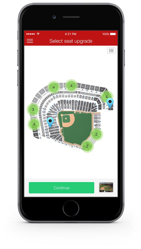 The Pogoseat app allows fans to upgrade their seats during the game