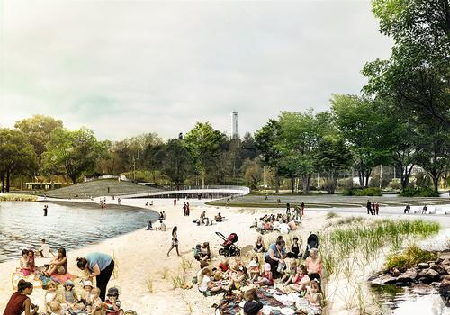 "COBE founder Dan Stubbergaard said: 'People from all over the city will swim in the water, sunbathe in the summer sun and drink evening coffee along the promenade""  / COBE"