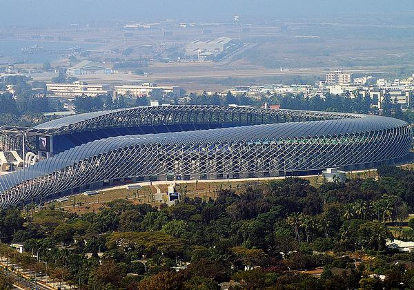 Kaohsiung Stadium, Taiwan: Toyo Ito's dragon-shaped stadium in Taiwan is covered in solar panels and is 100 per cent solar powered