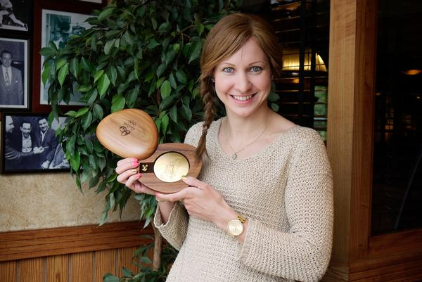 Track cyclist Joanna Rowsell-Shand with her gold medal from Rio