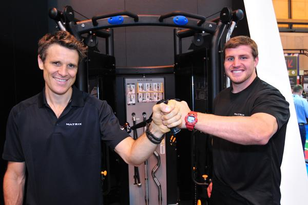 Olympian James Cracknell and England rugby player Ben Morgan on the Matrix stand