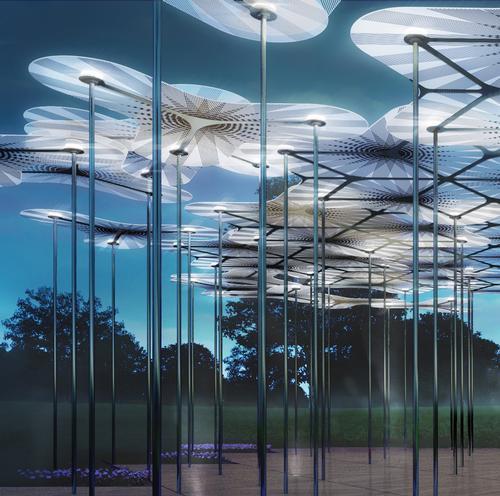 Carbon-fibre poles, translucent 'petals' and LED lights feature in the design / AL_A