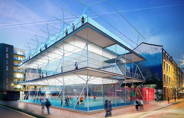 The three-storey pitches are built using a carbon fibre structure