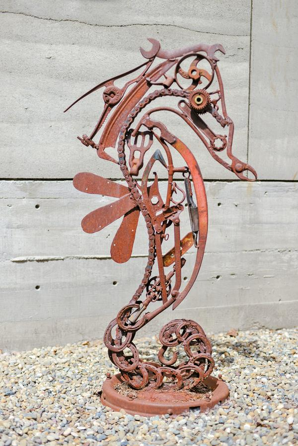 McLennan's heron sculpture made from salvaged parts by local metalworker Dick Strom